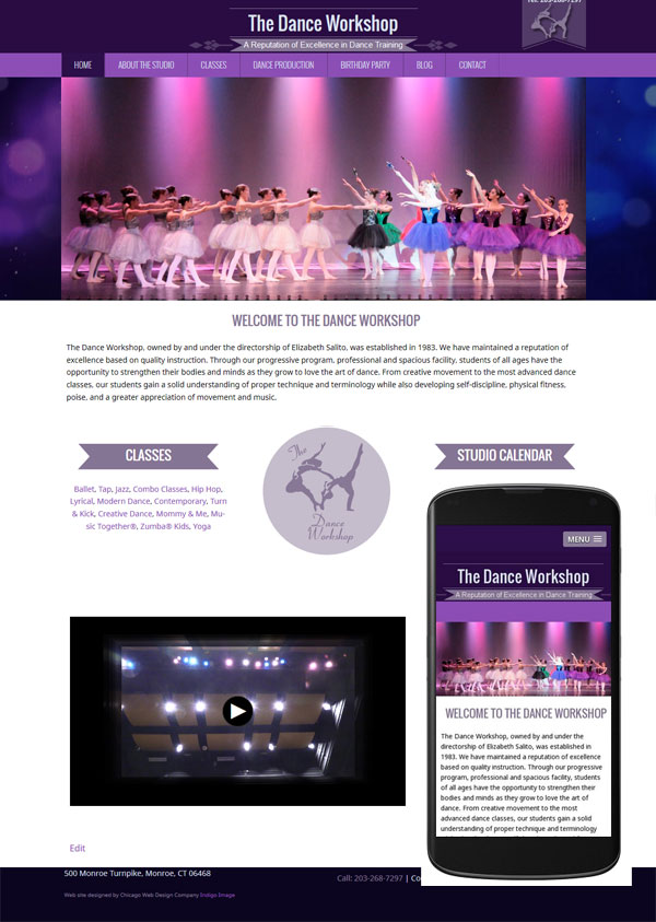 dance workshop wordpress website mobile