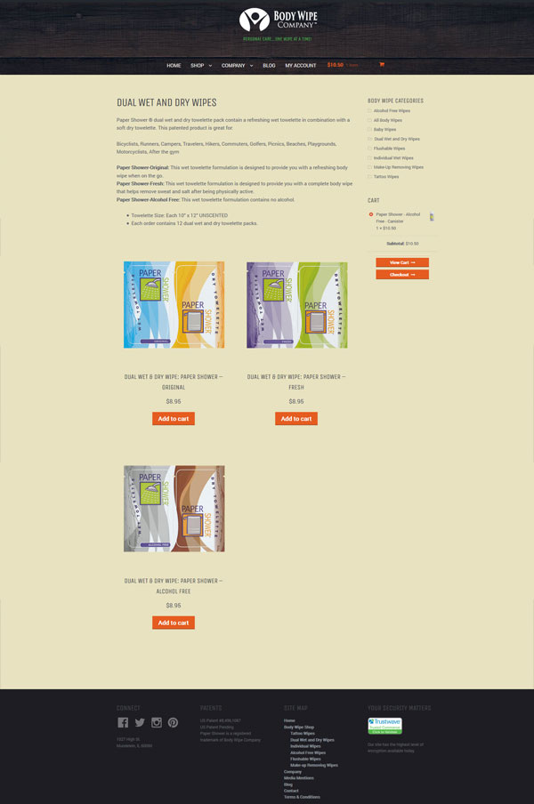 body wipe shop ecommerce