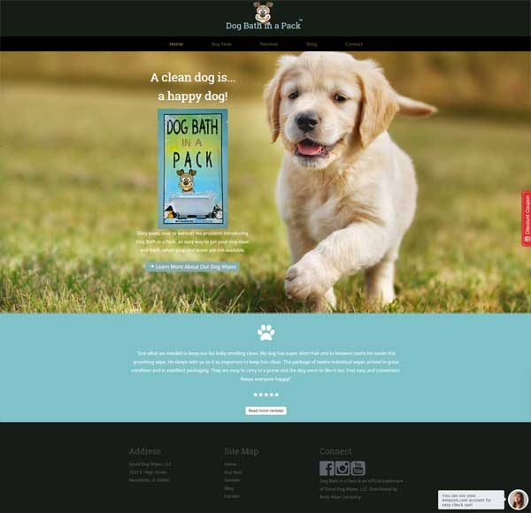 dog bath in a pack website
