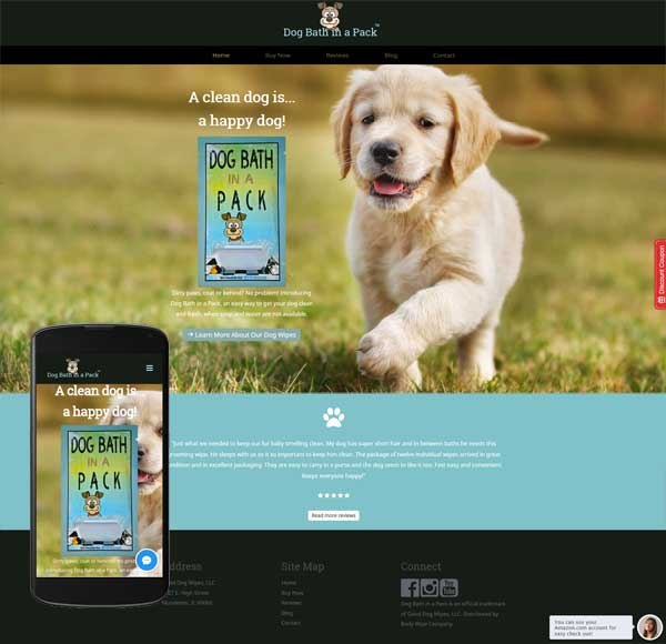 dog bath website responsive