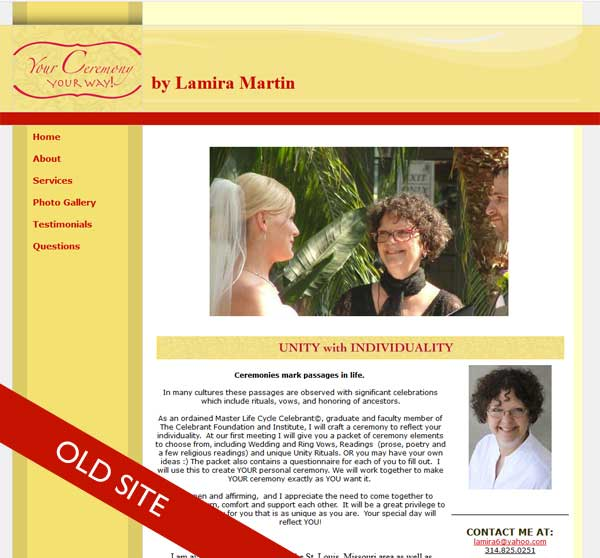 website redesign celebrant