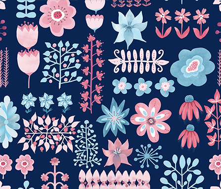 pretty in pink on navy surface pattern design