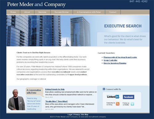 Chicago headhunter peter meder web site