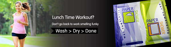 paper shower body wipes gym
