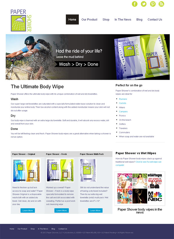 paper shower body wipes web site redesign