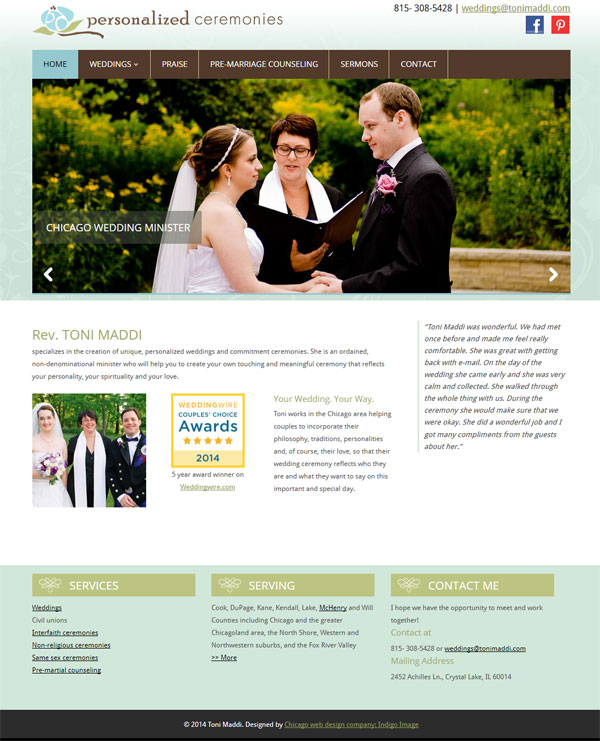 re designed website for chicago wedding officiant