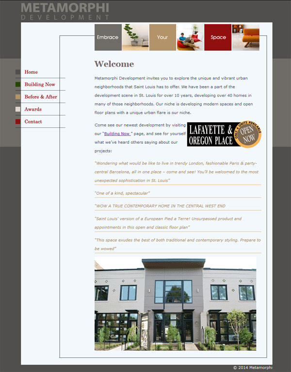 metamorphi website design